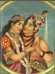 Śiva – Pārvati, the loving couple. Calendar print, late 19th Century CE