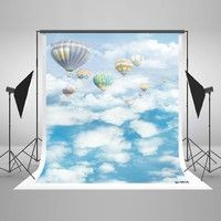 Wish   5x7ft(150x220cm) Blue Sky Photography Background Hot Air Balloons Backdrops White Cloud Photo Studio for Children Dream Photography