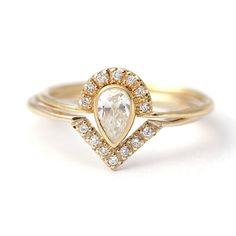 Pear Diamond Crown Ring & Pave Diamond V ring Wedding by artemer