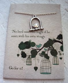 Lucky Feather Birdcage necklace on inspirational card. Sterling Silver plated. $24.95 #birdnecklace #silverjewelry