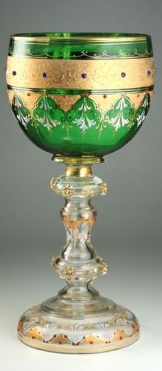 Tall jewelled and enamelled emerald green glass and gilt chalice by Moser, c. 1910-1920