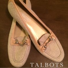 Talbots loafers Talbots khaki tweed loafers with tan leather and buckle details. Made in Spain. Size is 8.5N. Not interested in trades. Talbots Shoes Flats & Loafers