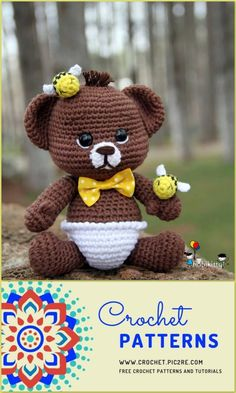 We share Amigurumi Baby bear pattern for you free. You can visit our website for beautiful patterns from each other. Diy Crochet, Crochet Crafts, Crochet Dolls, Crochet Projects, Crochet Bear Patterns, Crochet Animals, Stuffed Animal Patterns, Beautiful Patterns, Website