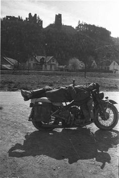 A Red Army motorcyclist in Austria, 1945