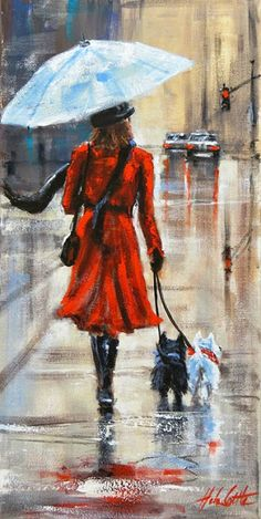 Kai Fine Art is an art website, shows painting and illustration works all over the world. Rain Painting, Rain Art, Arte Sketchbook, Umbrella Art, Walking In The Rain, Beautiful Artwork, Art Pictures, Painting Inspiration, Photo Art