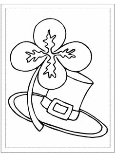 Lucky Four-Leaf Clover (not a Shamrock) and hat coloring page.