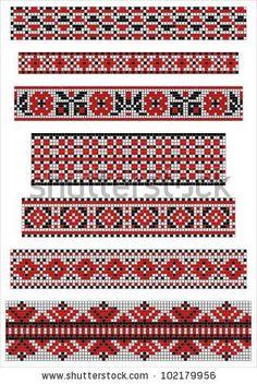 Vector black and red cross stitch ethnic borders. by Minichka, via Shutterstock