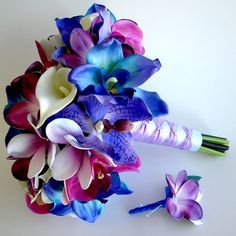 Blue Galaxy Orchid, Plumeria and Calla Lily Real Touch Bouquet in Blues, Purples and Violet on Etsy, $165.00