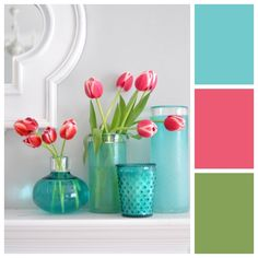 Bring spring into your home with a tulip-inspired palette. Colors: Robins Egg, Watermelon Smoothie, Spanish Olive. Via @Centsational Girl