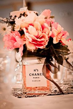 Bridal shower Chanel perfume bottle and flowers centerpiece - decor. #hellogorgeous