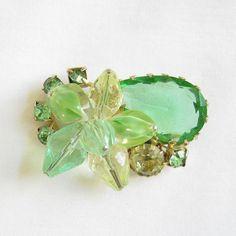 Vintage JULIANA style Peridot Green Cut Glass