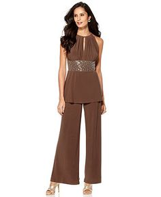 R Richards Outfit, Sleeveless Beaded Waist Tunic & Wide Leg Pants Suit - Womens Dresses - Macy's Classy Outfits, Trendy Outfits, Fashion Outfits, Fashion Trends, Trendy Plus Size Clothing, Plus Size Outfits, Short Women Fashion, Womens Fashion, Loose Fit Jeans