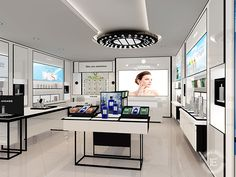 Interior design for cosmetic reyail store with display showcase