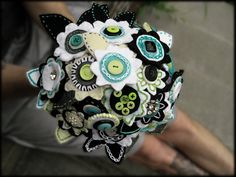 A button bouquet for a wedding...what a great idea!