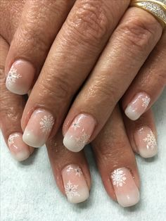 Natural Pink Ombré Babyboomer French Stamped Snowflake Gel Nails