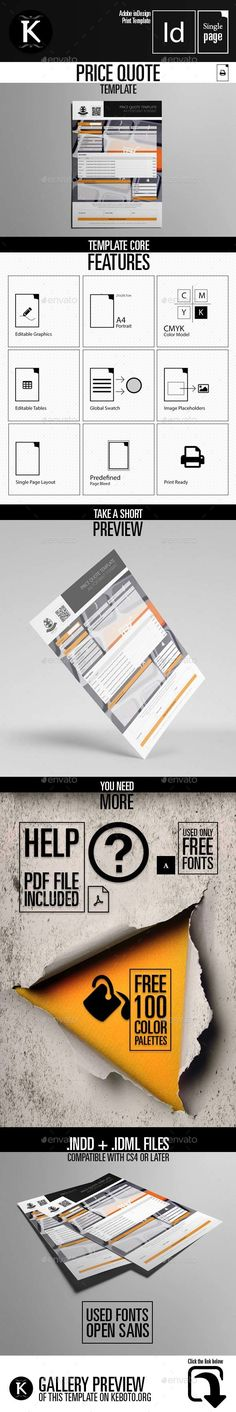 Price Quote A Template  Cmyk  Print Ready  Clean And Modern