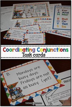 Teach Coordinating Conjunctions the FAN BOYS way!  (For, and, nor, but, or, yet, so).  Use these posters and task cards to practice.