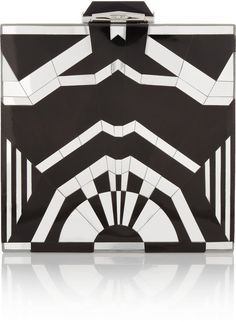 KOTUR Black Rockefeller Mirrored Shell Clutch