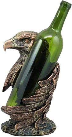 """Ebros Large Patriotic Bald Eagle Wine Bottle Holder Figurine in Faux Bronze Finish 10"""" High Eagle Statue, Peacock Wall Art, Wine Stand, Kind Bars, Mosaic Animals, Wood Carving Designs, Wine Bottle Holders, Sculpture Clay, Bronze Finish"""