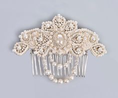 Lucrezia pearl and crystal bridal comb hair by PetiteLumiereCo