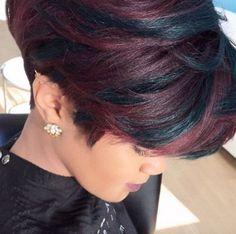 Hair Beauty - [ Short Haircuts : Fun pop of green Pekela Riley - blackhairinformat. Short Bob Hairstyles, Cool Hairstyles, Hairstyle Ideas, Short Hair Cuts, Short Hair Styles, Sassy Hair, Trending Haircuts, Hair Affair, Great Hair