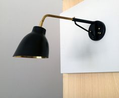 "Navire Jib Sconce from A. d. T. LA handmade, 14 to 18"", articulating shade, 5"" back plate"
