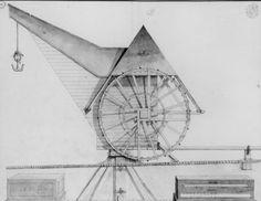 MECHELEN (Belgique) 1820-1830 Plan van de oude kraan van Mechelen,aan de oevers van Dijle Falkirk Wheel, Masonic Symbols, Simple Machines, 18th Century, Planer, Medieval, Brick, Thesis, Robots