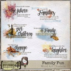 Family Fun - Word Art Clusters
