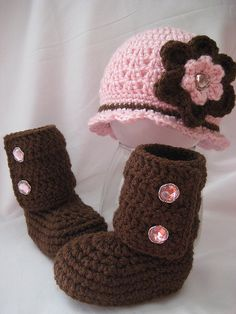 Pink and Brown Flapper Hat and...