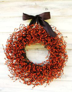 FALL HARVEST-Orange & Brown Wreath-Fall Wreath-Rustic Home Decor- Autumn Door Decor-Scented Pumpkin Spice-Choose your Scent and Ribbon