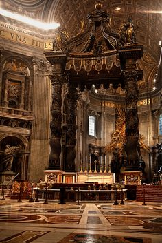 St. Peter's Baldachin inside St. Peter's Basilica by Bernini. Vatican City , Rome