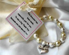 Thank you Childrens Bracelet Gift - a Charm Bracelet present with gift bag and poem card, ideal flower girl / flowergirl or bridesmaid gift on Etsy, $7.03