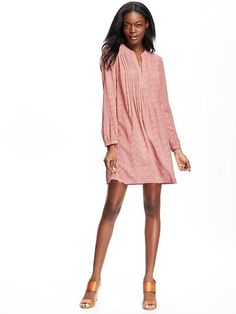 Printed Pintucked Dress for Women