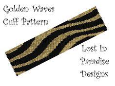 Peyote Bracelet Pattern - Golden Waves Peyote Pattern (Buy 2 Get one free). $6.50, via Etsy.