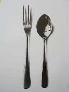 Work by Jan Brewerton titled 'Fork and Spoon' Spoon Drawing, Object Drawing, Pencil Art, Pencil Drawings, Drawing Utensils, Observational Drawing, Still Life Drawing, Graphite Drawings, A Level Art