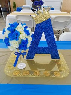 Royal blue baby shower decorations table supplies and gold centerpieces sh . Deco Baby Shower, Shower Party, Baby Shower Parties, Baby Shower Themes, Baby Boy Shower, Baby Shower Gifts, Shower Ideas, Baby Showers, Royal Baby Shower Theme