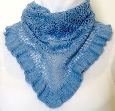 Romantic Blue Hyacinth Scarf Hand-knit in Silk by NeedlesnPurls