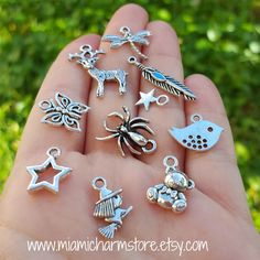 50 Pieces Mixed Charms, Antique Silver Tone by MiamiCharmStore on Etsy