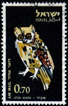 Eurasian Scops Owl (Otus scops), airmail postage stamp designed by Israeli artist Miriam Karol (1926-1994),  Israel, 1963