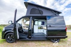Check out this stunning #Autohaus Black Ashton #VW #Campervan. Info: http://www.autohausvw.co.uk/gallery/vw-t5-gp-campervans/black-ashton-vw-campervan-with-cream-leather/