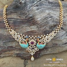 Set in yellow gold short necklace studded with zircon stones designed with peacocks. shipping across USA and India. Choker Necklace Online, Gold Choker Necklace, Short Necklace, Peacocks, Necklace Designs, Gold Jewelry, Chokers, Girly, Stones