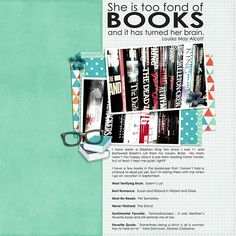 She is too Fond of Books - Project 2015 August by Laura Passage #scrapbook #digiscrap