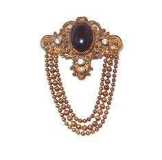 Three Chain Drop Repousse Brooch with Black Cabochon and Rhinestones