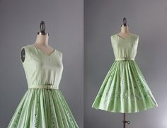 50s Dress / Vintage 1950s Dress / 60s Mint Cotton by HolliePoint, $44.00