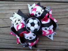 Pink Soccer Bow with Soccer Ribbon and Felt Soccer Ball by ransomletterhandmade, $11.00