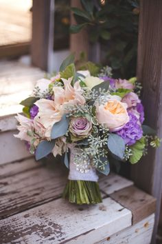 Stunning Soft Bouquet of Peach Garden Roses, Amnesia Roses (lavender), Lavender Lisi, Seeded Euc, Variegated Pitt and Cafe Au Lait Dahlias and White Kale - Just lovely
