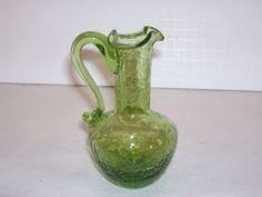 Pilgrim Hand Blown Crackle Art Glass Pitcher Vase Peridot Green Vintage 1960's