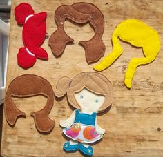 """Bald Hope felt unpaper paper doll with 5 different wigs from my """"Unpaper Felt Dolls Share"""" collection Listing for doll only by cabincraftycreations on Etsy"""