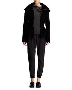 Scarf-Hem Cardigan Sweater, Floral-Appliqué Bateau Sweater & Knit Harem Pants by Lanvin at Bergdorf Goodman.