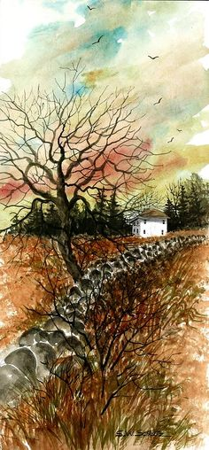 Home In The Distance by Steven W Schultz ~ watercolor autumn